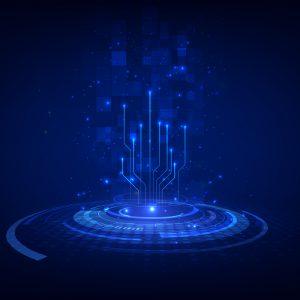 abstract blockchain sci fi circular dial hud tech concept backgr