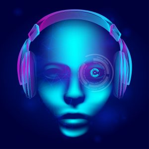 Neon cyber dj or robot head with outline electronic headphones wireframe. Artificial intelligence vector illustration with abstract human face in technology line art style on dark blue background